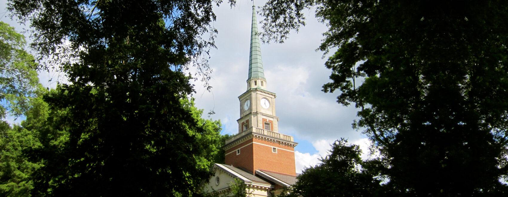 Church steeple at Davidson College