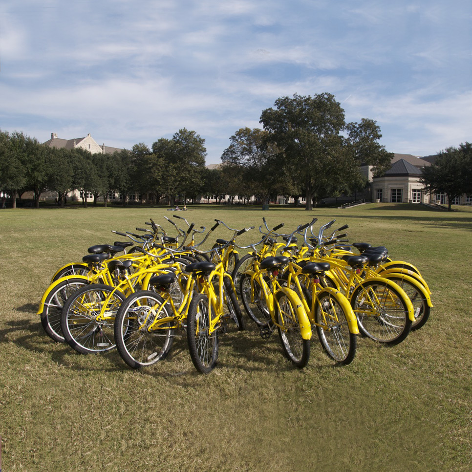 Bicycles on Southwestern campus